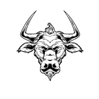 Illustration vintage de tête de taureau
