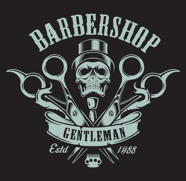 Illustration vintage sur le thème du salon de coiffure avec un crâne sur fond sombre. tous les éléments et le texte sont dans un groupe séparé.