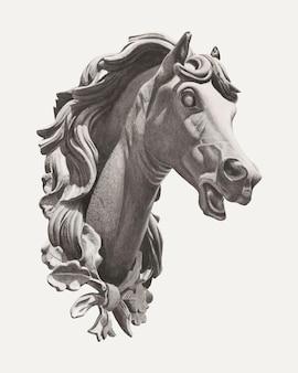 Illustration vintage de vecteur de tête de cheval, remixée à partir de l'œuvre d'art d'albert ryder