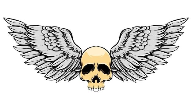 Illustration vintage vieux crâne mort avec des ailes colorées