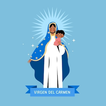 Illustration de la virgen del carmen plat