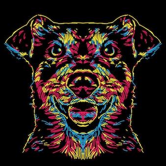 Illustration de visage abstrait chien coloré