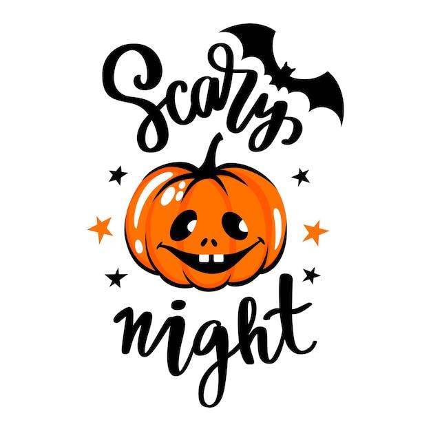 Illustration de visage de citrouille d'halloween. lettrage manuscrit effrayant de nuit.