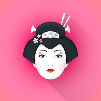 Illustration de visage coloré geisha style plat