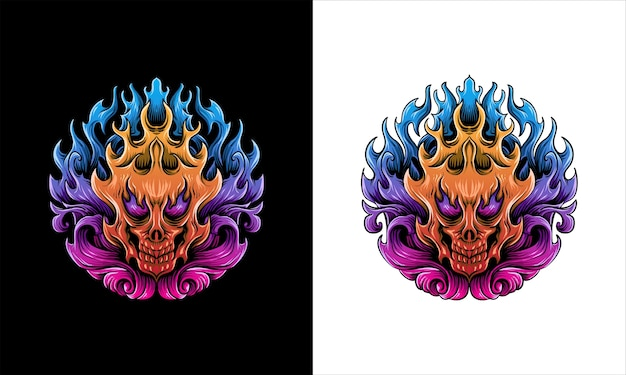 Illustration de visage de crâne de feu