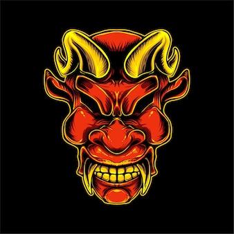 Illustration de visage de démon rouge