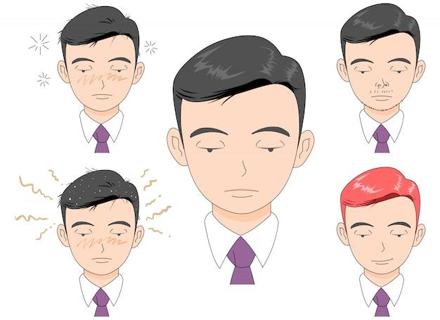 Illustration de visage gâché autogéré.