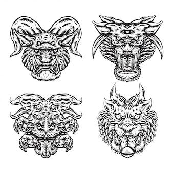 Illustration de visage de monstre noir et blanc