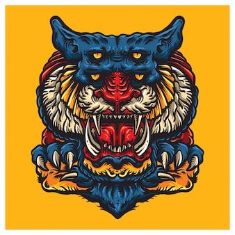 Illustration de visage de monstre tigre