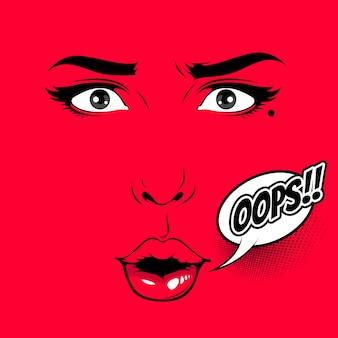 Illustration de visages féminins de style comique