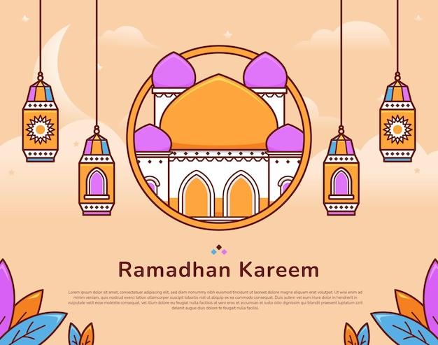 Illustration de voeux festive ramadan kareem colorée avec mosquée et lanterne musulmane islamique