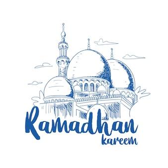 Illustration de voeux de la mosquée ramadhan kareem dessinée à la main