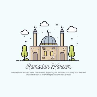 Illustration de voeux ramadan kareem plat.
