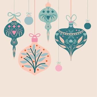 Illustration de voeux de saisons avec des boules