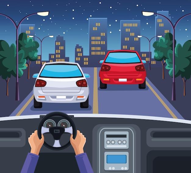 Illustration de la voiture au volant des mains