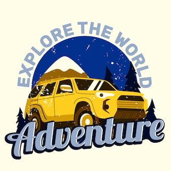 Illustration de voiture d'aventure pour la conception de t-shirt