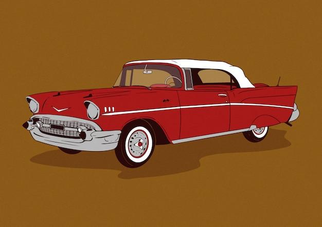 Illustration de voiture classique rouge