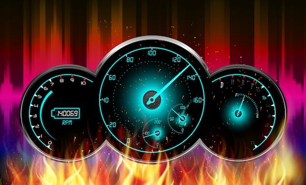 Illustration de la voiture de course compteur de vitesse brûler dans le feu