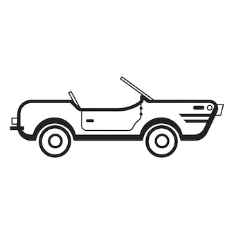 Illustration de voiture décapotable dessinée à la main