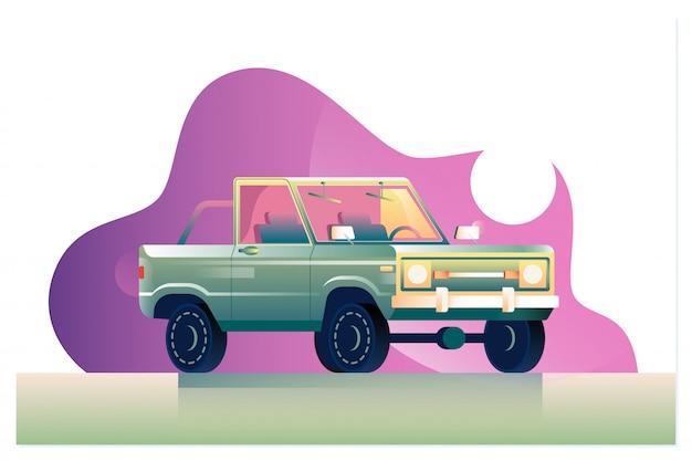 Illustration de voiture de dessin animé vert vecteur isolé sur blanc