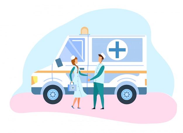 Illustration de la voiture et du personnel d'ambulance de médecine