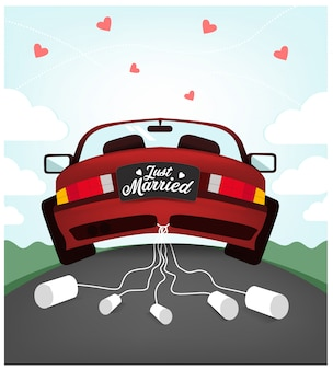 Illustration de voiture de mariage mignonne