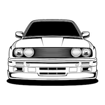 Illustration de voiture noir et blanc