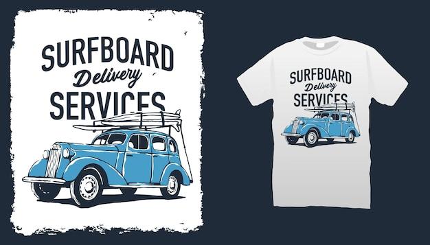Illustration de voiture et planche de surf vintage