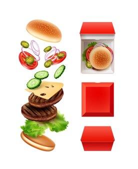 Illustration de voler grand double cheeseburger en vue éclatée
