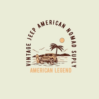 Illustration de voyage d'été avec le logo de concept de plage de bus vintage voyage de tourisme d'été et su