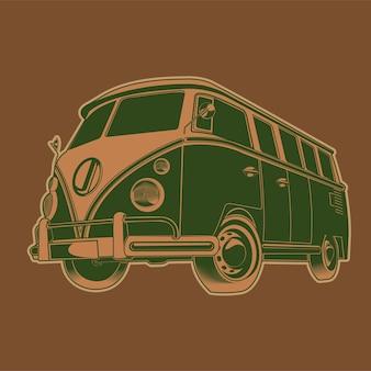 Illustration de voyage rétro camper van