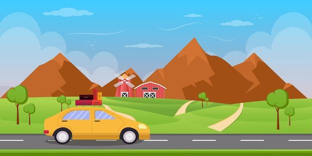 Illustration de voyage sur la route d & # 39; été dans un style plat