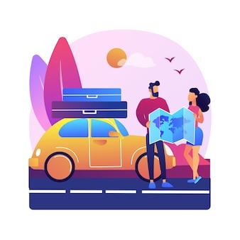 Illustration de voyage sur la route