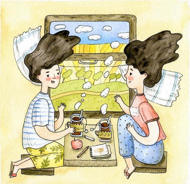 Illustration de voyage en train avec deux filles appréciant le thé