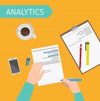 Illustration de la vue de dessus analytique d'affaires