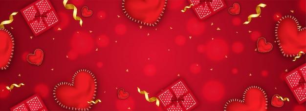 Illustration de la vue de dessus des boîtes-cadeaux et des formes de coeur brillantes