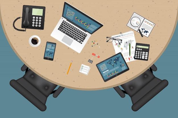 Illustration de vue de dessus de l'espace de travail entreprise