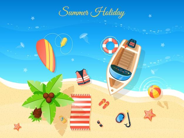 Illustration vue de dessus de plage