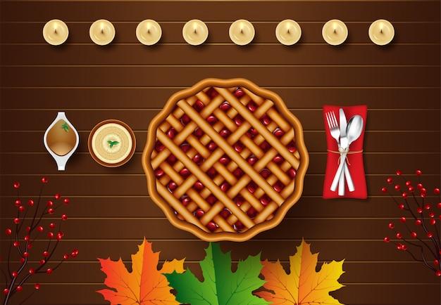 Illustration de la vue de dessus pour le dîner de thanksgiving