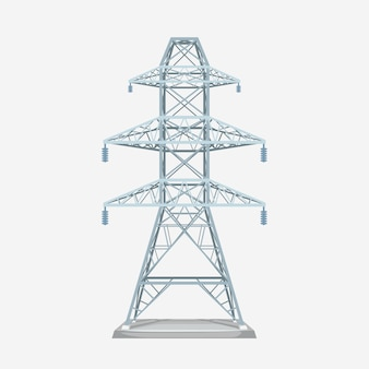 Illustration de la vue de face à la tour électrique de couleur gris métal moderne isolé sur blanc