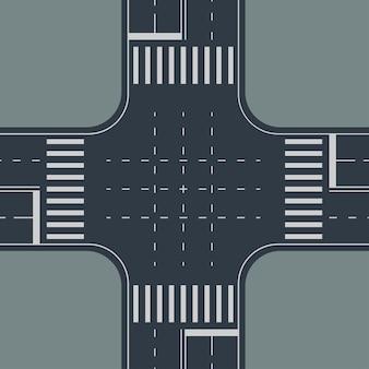 Illustration de la vue de haut en carrefour sur fond gris