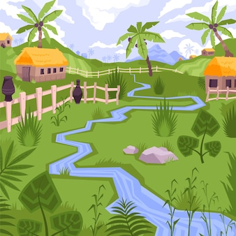 Illustration avec vue sur village exotique avec maisons, ruisseau et plantes tropicales