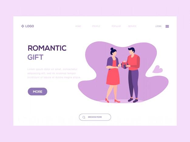 Illustration web cadeau romantique