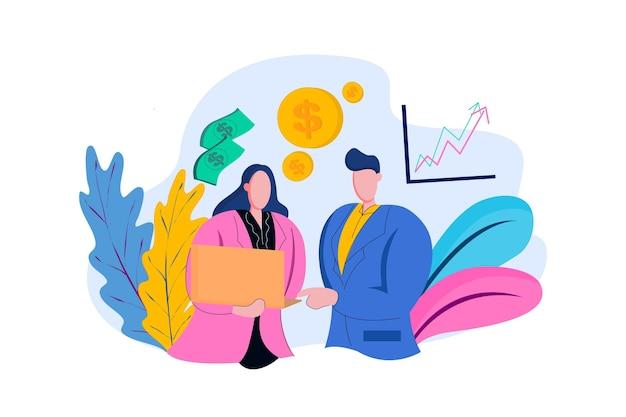 Illustration web de discussion d'employé de bureau