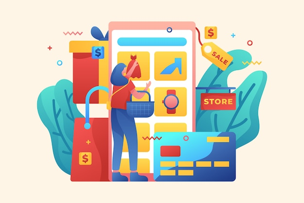 Illustration web de magasinage en ligne