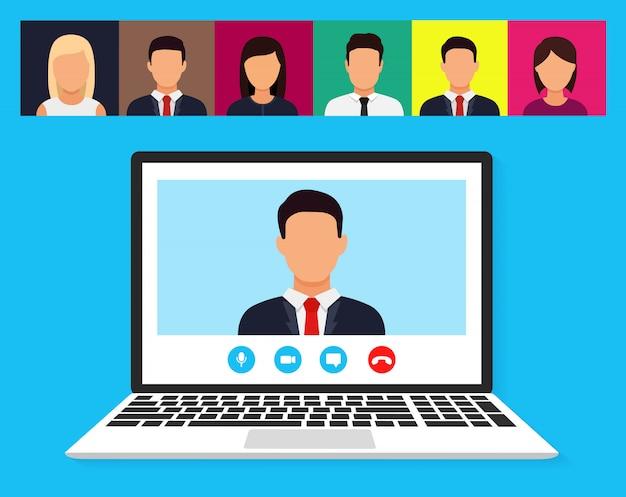 Illustration d'un webinaire, d'une conférence en ligne et d'une formation. appartement. illustration