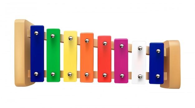 Illustration de xylophone d'un instrument de musique pour enfants sur un blanc isolé