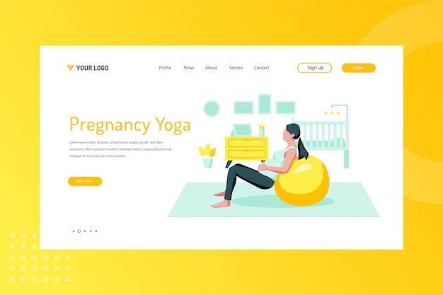 Illustration de yoga de grossesse sur la page de destination