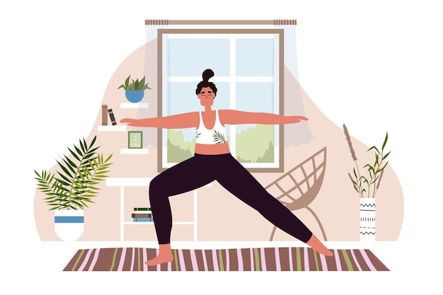 Illustration de yoga et de mode de vie sain, femme méditant à la maison. illustration