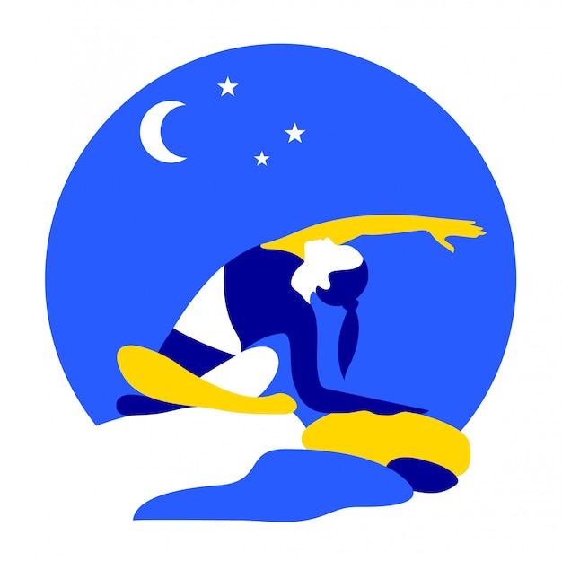 Illustration de yoga la nuit